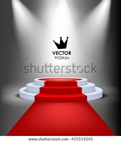 Vector king winner podium with red carpet. Highlighted event illuminated stage - stock vector