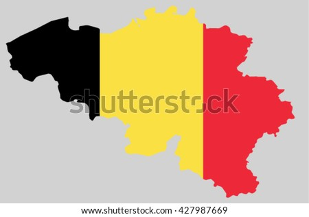 Vector Kingdom of Belgium topographic map. Belgium flag on borders of the country. Flat style design. Belgian border contour isolated on grey. Original color flag. graphic design clip art illustration - stock vector