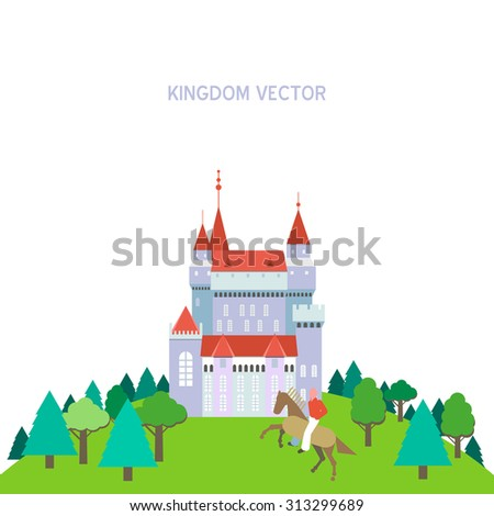 Vector kingdom patterns. Set of flat style vector fairy tale fantasy kingdom icon templates. Cavalier man icon surrounded by forest in front of castle. Iconographic card with place for your text. - stock vector