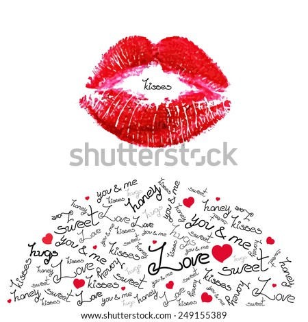 Vector kiss trace and sweet love words. Red lipstick trace on white paper. - stock vector