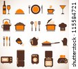 Vector kitchen icons set - stock vector