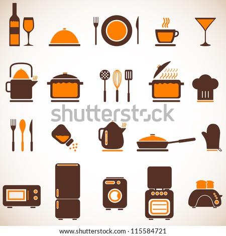 Vector kitchen icons set