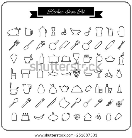 Vector 70 kitchen icons set for web in flat design on a white background - stock vector
