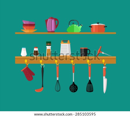 Vector kitchen items flat icon set - stock vector