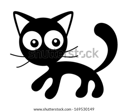 Vector kitten, black and white cat illustration. - stock vector