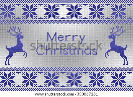 Vector knit pattern with scandinavian deer and sweater patterns. New Year and Merry Christmas card. Knit card with greetings.