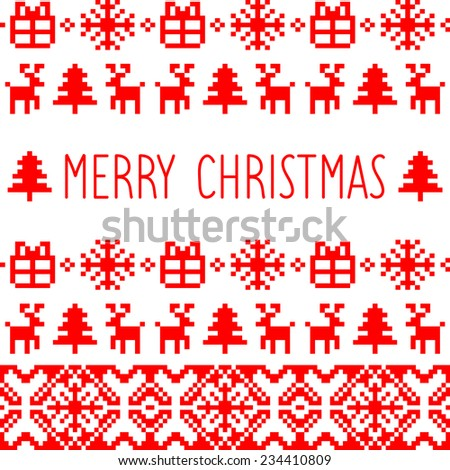 Vector knitted christmas seamless pattern card with text Merry Christmas. Holiday pixel endless christmas frame - stock vector