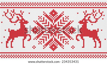 Vector knitted ornament with deers / red - stock vector