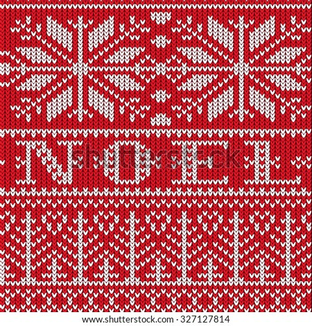 Vector Knitted Seamless Pattern Snowflakes Christmas Stock Vector