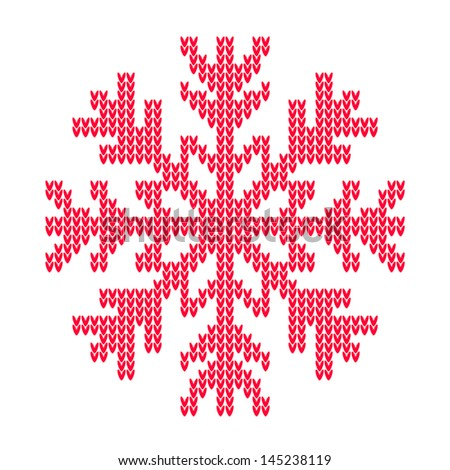 Vector knitted snowflake - stock vector