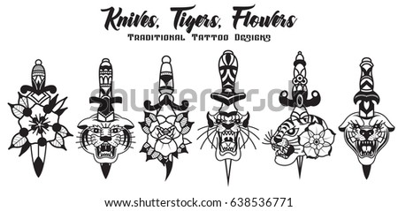 Vector Knives Tigers Flowers Traditional Tattoo Stock