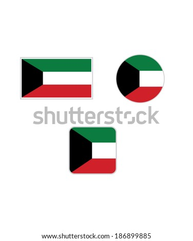 Vector Kuwait Flag and Icon Set  - stock vector