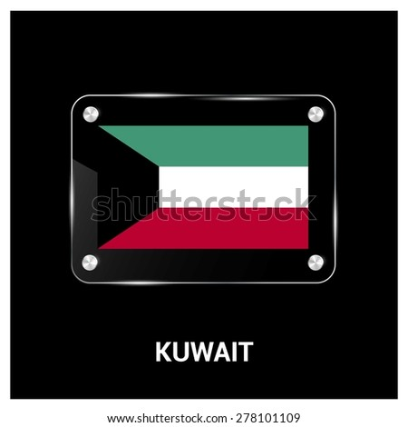 Vector Kuwait Flag glass plate with metal holders - Country name label in bottom - stock vector