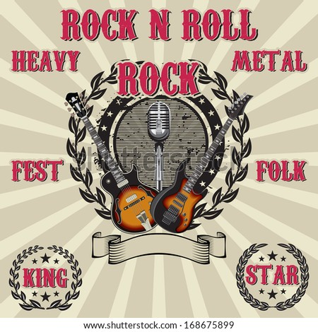 vector label in rock music with inscriptions - stock vector