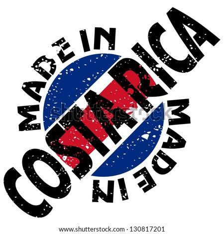 vector label Made in Costa Rica - stock vector