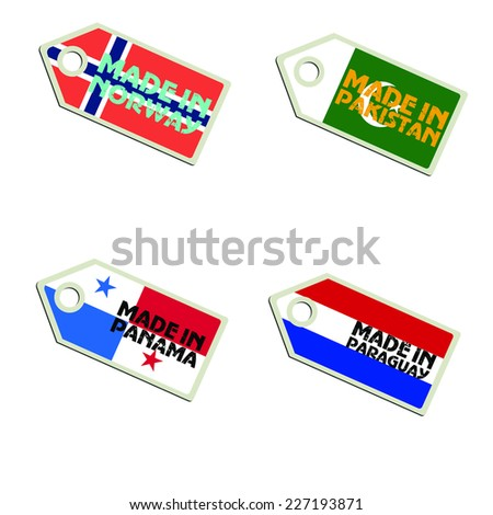 vector label Made in Norway, Pakistan, Panama, Paraguay,  - stock vector