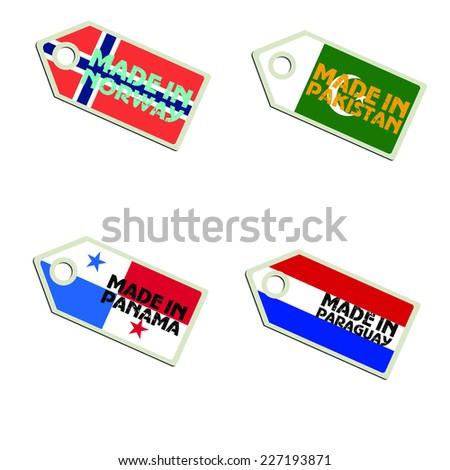 vector label Made in Norway, Pakistan, Panama, Paraguay,  - stock vector