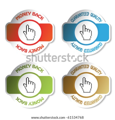 Vector label - money back and guaranteed quality - stock vector