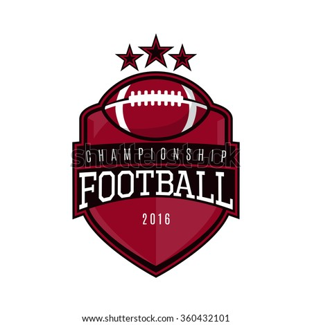 Vector label of american football. Logo of american football championship. Vector illustration. - stock vector