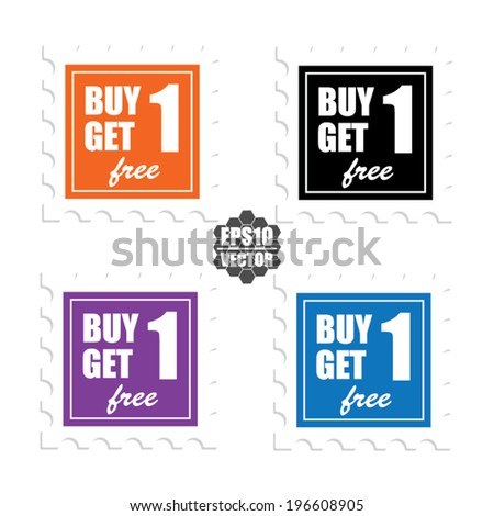 Vector : Label or Sticker For Marketing Campaign, Buy 1 Get 1 Free With Colorful Icon. - stock vector