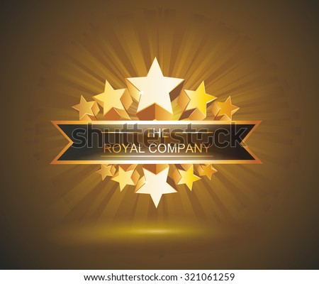 Vector label sign with gold stars and place for your text - stock vector