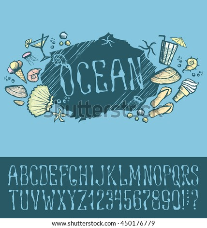Vector label with hand made font. With inscription Ocean - stock vector