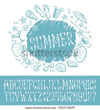 Vector label with hand made font. With inscription Summer - stock vector