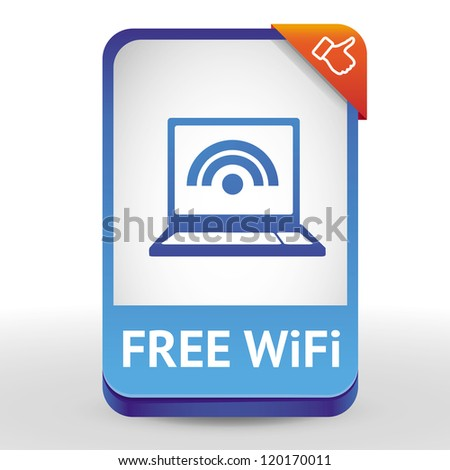 Vector label with laptop and wifi sign - design element with text - stock vector
