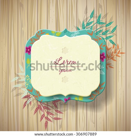 vector label with space for your text. wooden texture  - stock vector