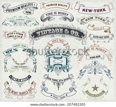 Vector. 23 Labels and banners.  - stock vector