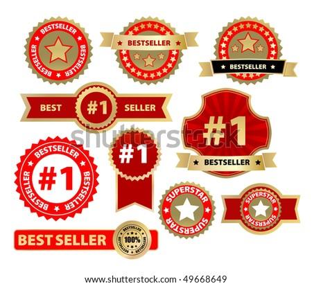 vector labels - bestseller - stock vector