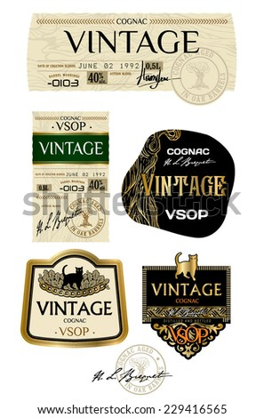 Vector labels for cognac, whiskey, brandy and other alcoholic beverages - stock vector