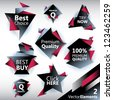 Vector Labels in Origami like style - stock vector