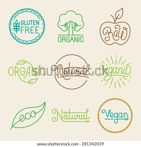 Vector labels in trendy mono line style - premium quality organic and natural badges for fresh farm products and food packaging - set of linear emblems and icons - stock vector