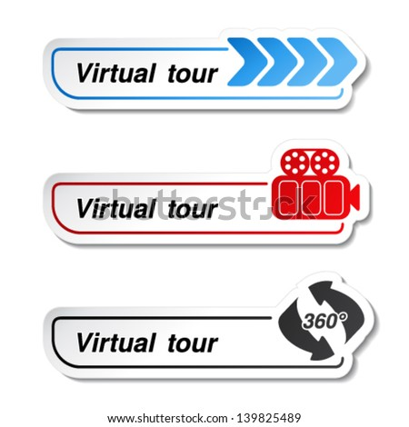 Vector labels - stickers for virtual tour - stock vector