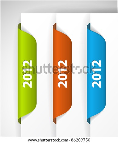 Vector 2012 Labels / Stickers on the edge of the (web) page - stock vector