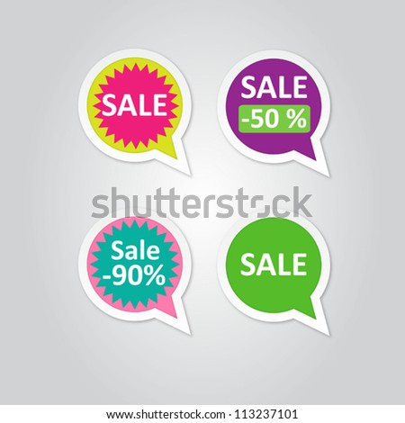 Vector Labels stickers with sale messages - stock vector