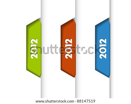 Vector 2012 Labels, Tabs, Tags  on the edge of the (web) page - stock vector