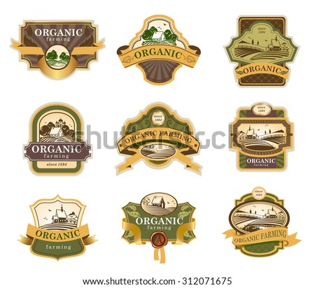 Vector lables for Organic farming products with rural landscapes. - stock vector
