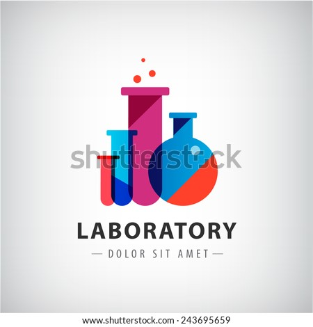 vector laboratory, chemical, medical test logo, icon. Colorful modern design with bulbs, bottles - stock vector