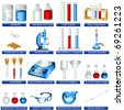 vector laboratory tool icons - stock photo