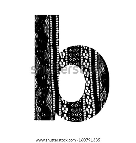 Vector lace font - letter b - stock vector