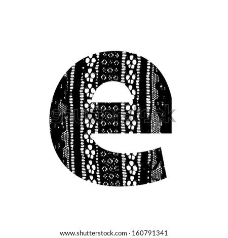 Vector lace font - letter e - stock vector