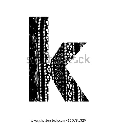 Vector lace font - letter k - stock vector