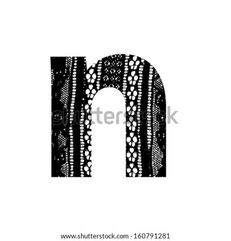 Vector lace font - letter n - stock vector
