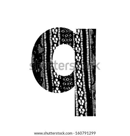 Vector lace font - letter q - stock vector