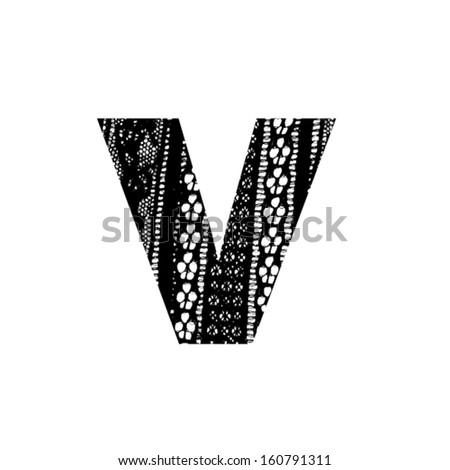 Vector lace font - letter v - stock vector