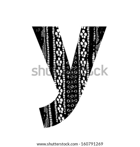 Vector lace font - letter y - stock vector