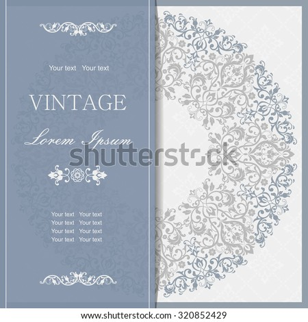 Vector lace pattern in Victorian style. Ornamental pattern for wedding invitations, greeting cards.