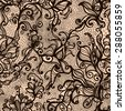 Vector lace seamless pattern of decorative flowers,leaves,intertwined with viscous of lines. Infinitely wallpaper,decoration your design,lingerie and jewelry.Your invitation cards, wallpaper,and more. - stock vector